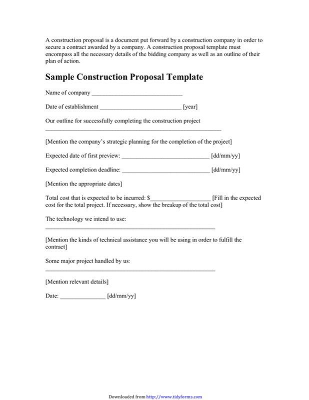 Construction Proposal Template  Free Templates In Doc Ppt Pdf  Xls