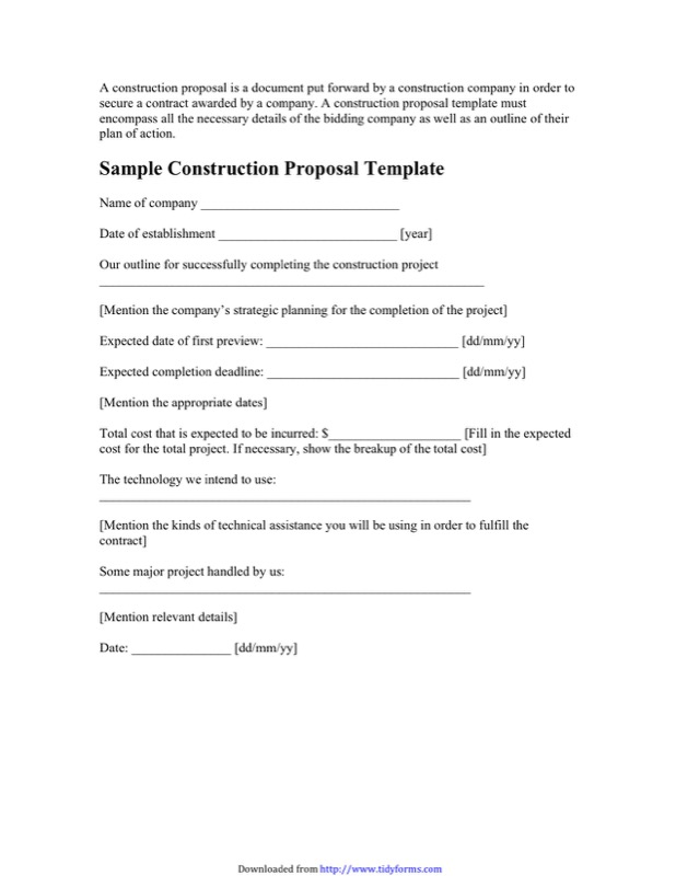 Sample Construction Proposal Template  Construction Proposal Template