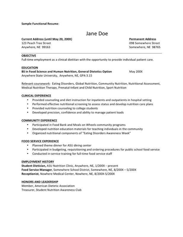 Sample Dietitian Resume  Clinical Dietitian Resume