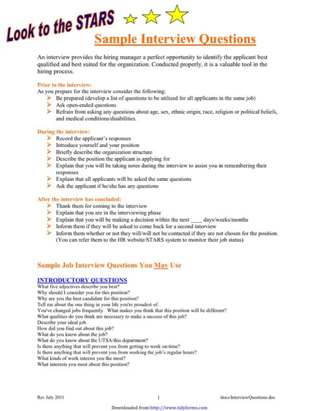 Sample Job Interview Questions Templates  Free Templates In Doc