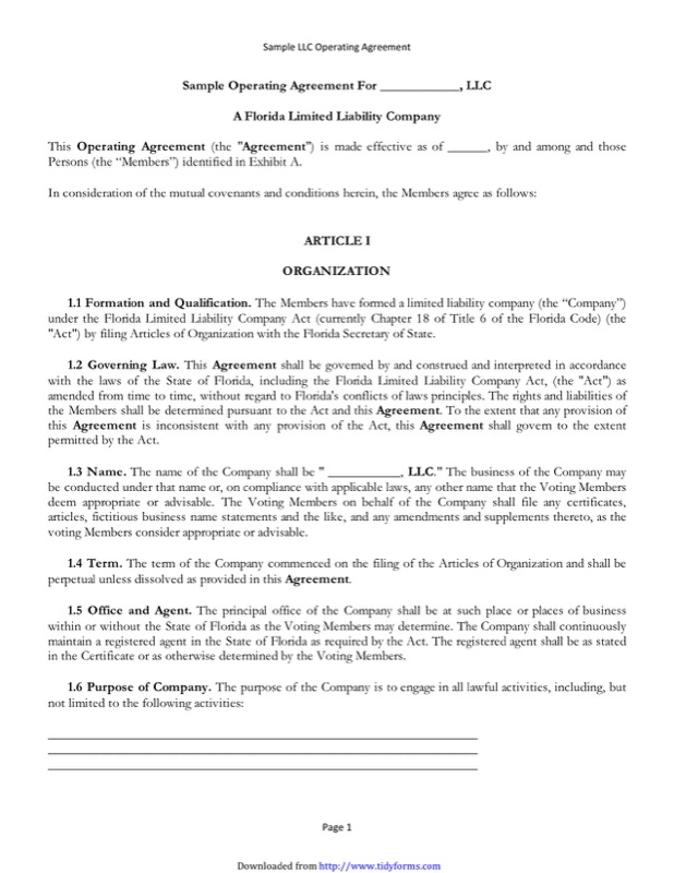 Llc Operating Agreement Templates  Free Templates In Doc Ppt Pdf