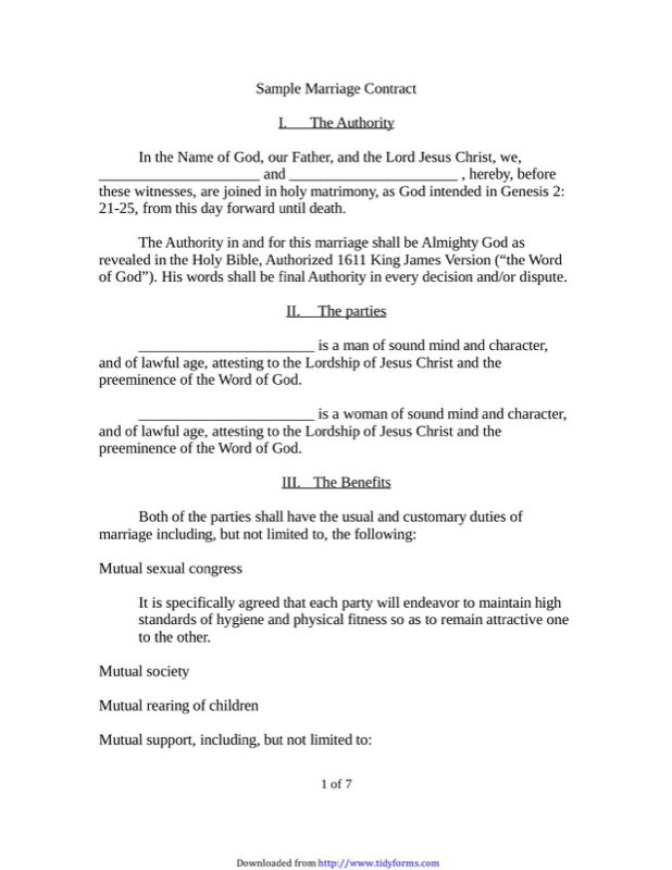Marriage Contract Sample Templates  Free Templates In Doc Ppt Pdf