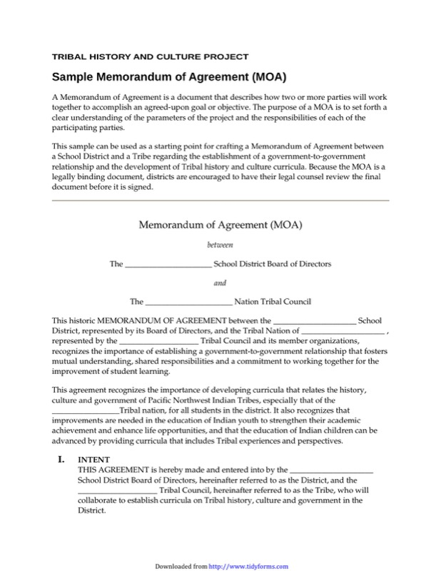 Memorandum Of Agreement Template  Free Templates In Doc Ppt Pdf  Xls