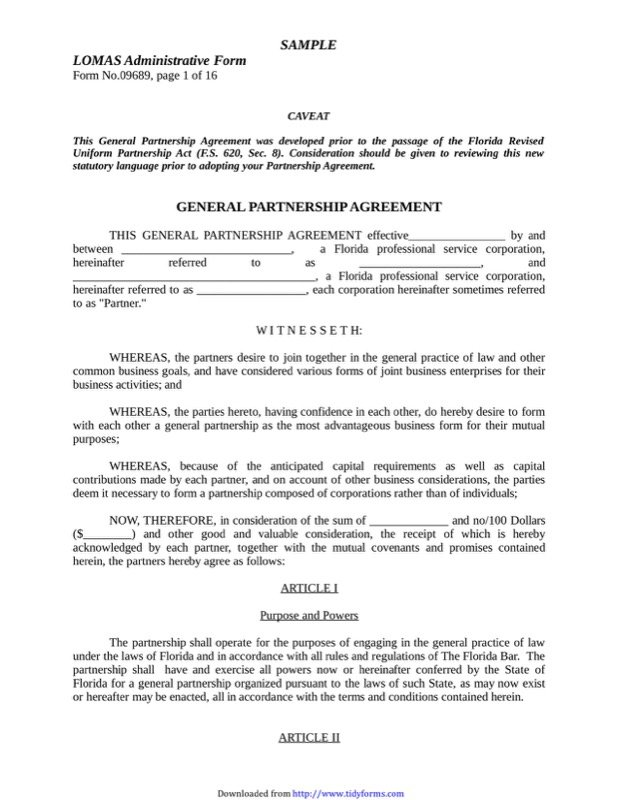 General Partnership Agreement3  Free Partnership Agreement Form