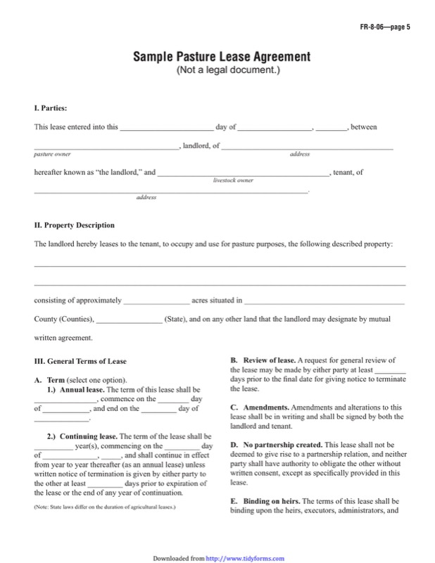 Pasture Lease Agreement Templates  Free Templates In Doc Ppt Pdf