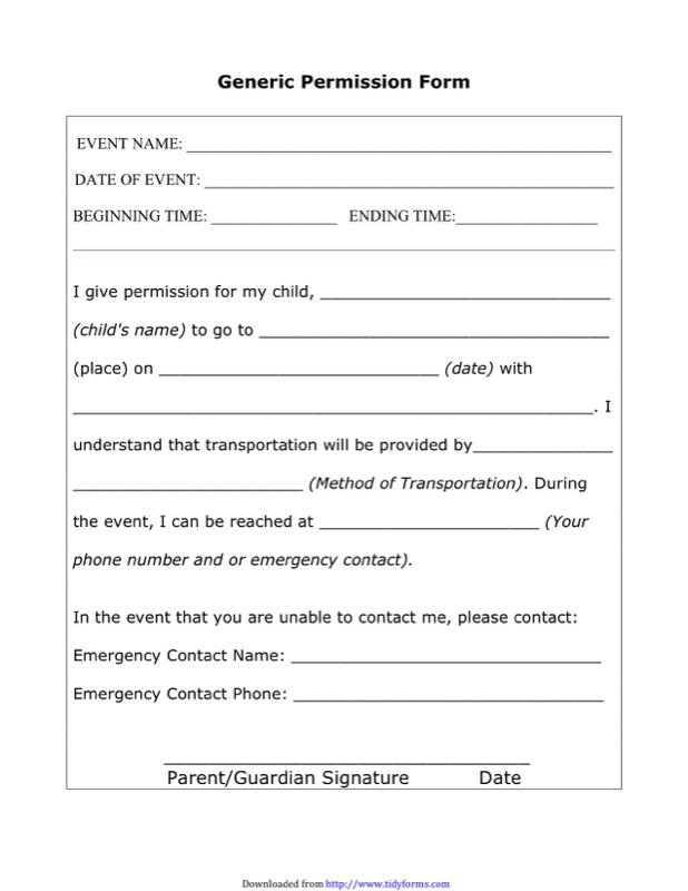 Permission Slip Template  Free Templates In Doc Ppt Pdf  Xls
