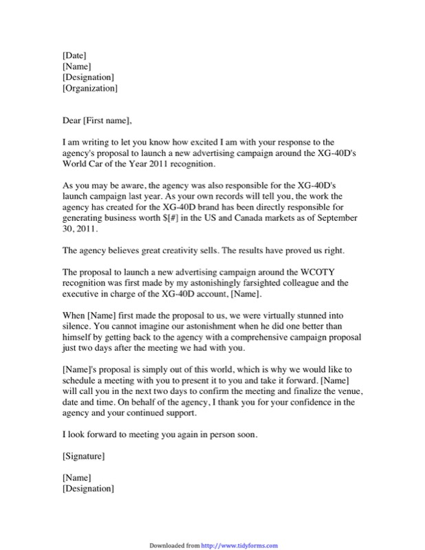 Example Proposal Letter  Example Of A Proposal Letter