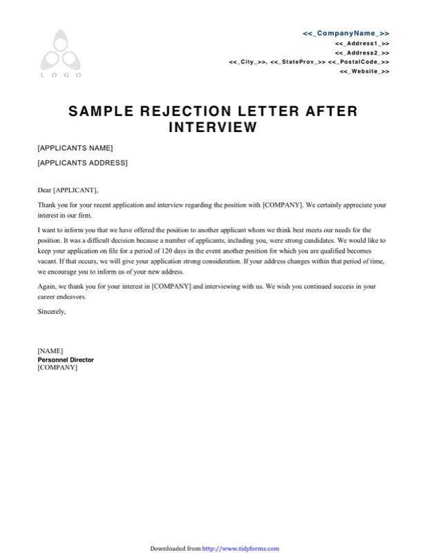 Unique Agreement Rejection Letter Graphics  Complete Letter Template