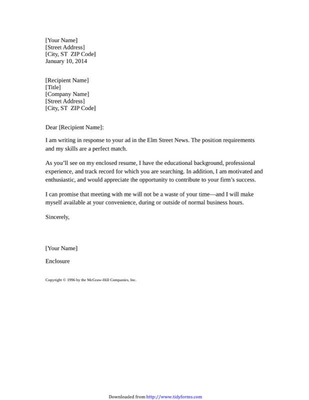 Sample Resume Cover Letter In Response To A Job Advertisement  Example Of Resume Cover Letters