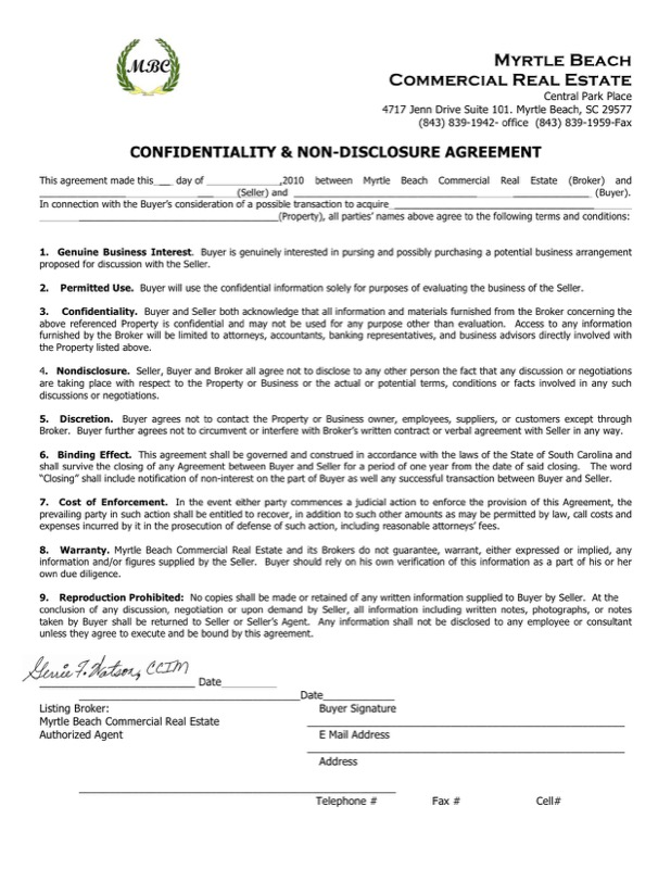 Download Example Real Estate Confidentiality Agreement For Seller