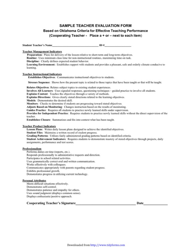 Teacher Evaluation Form Templates  Free Templates In Doc Ppt Pdf
