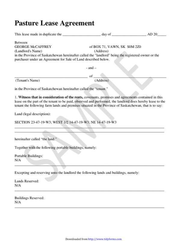 Sample Pasture Lease Agreement  Resume Template Sample