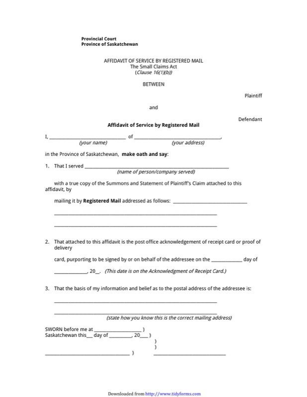 Saskatchewan Affidavit Form  Free Templates In Doc Ppt Pdf  Xls