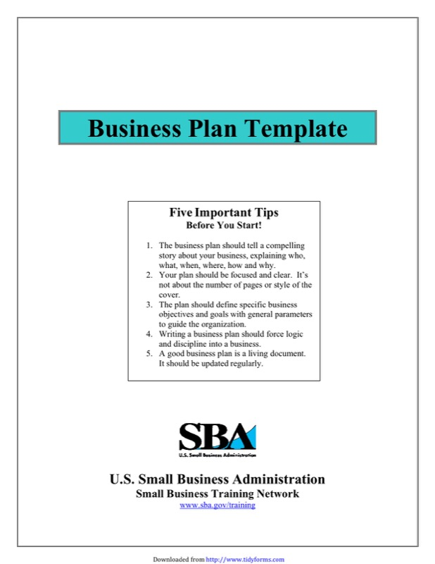 SBA Business Plan Template Free Templates In DOC PPT PDF XLS - Sba business plan template word