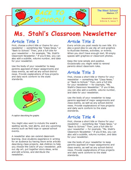 School newsletter (2-col., 2-pp.)