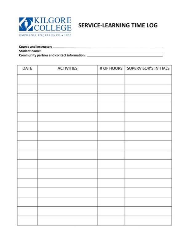 Attractive Service Learning Time Log Template