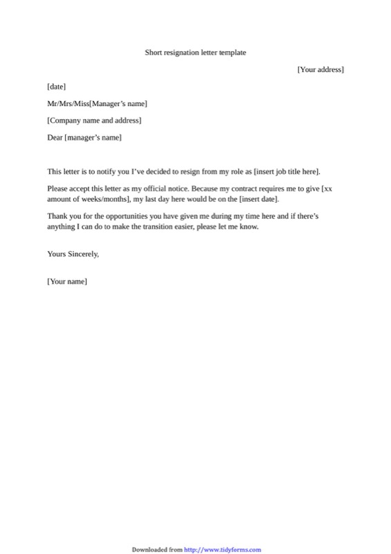 Short Resignation Letter Template  Letter Templates