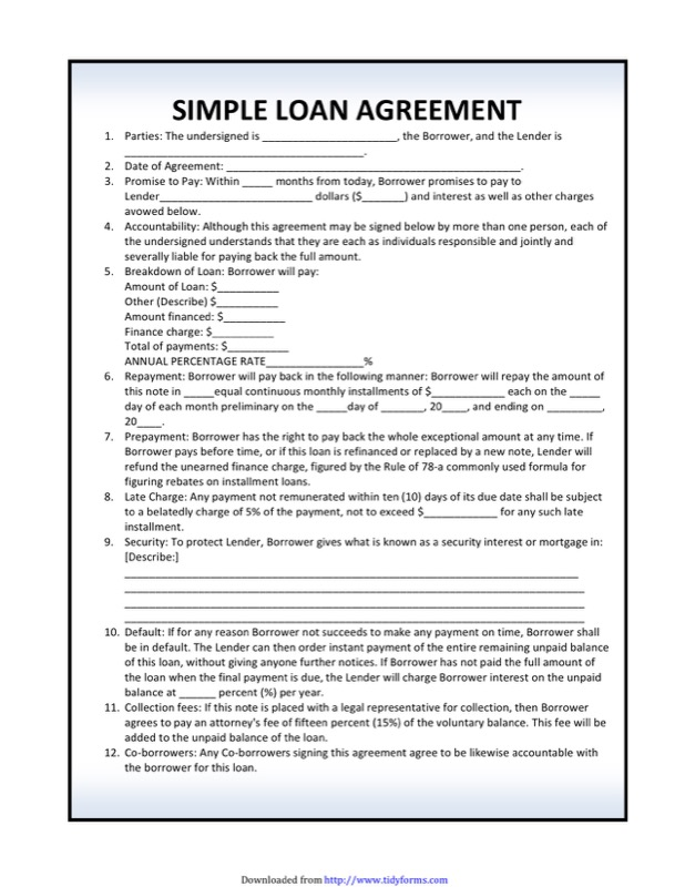 Elegant Simple Loan Agreement Template  Free Loan Document Template