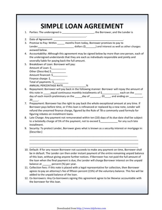 Simple Loan Agreement Template  Cash Loan Agreement Sample