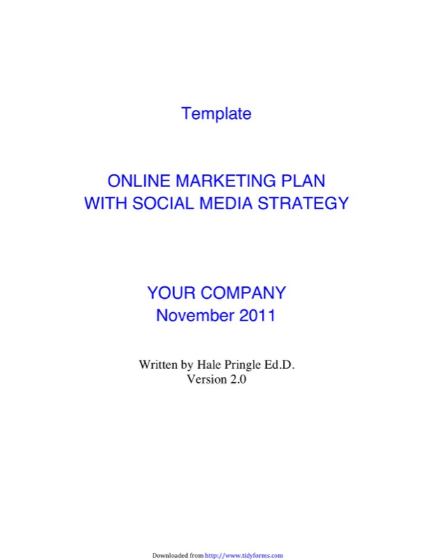 Social Media Marketing Plan Template  Free Templates In Doc Ppt
