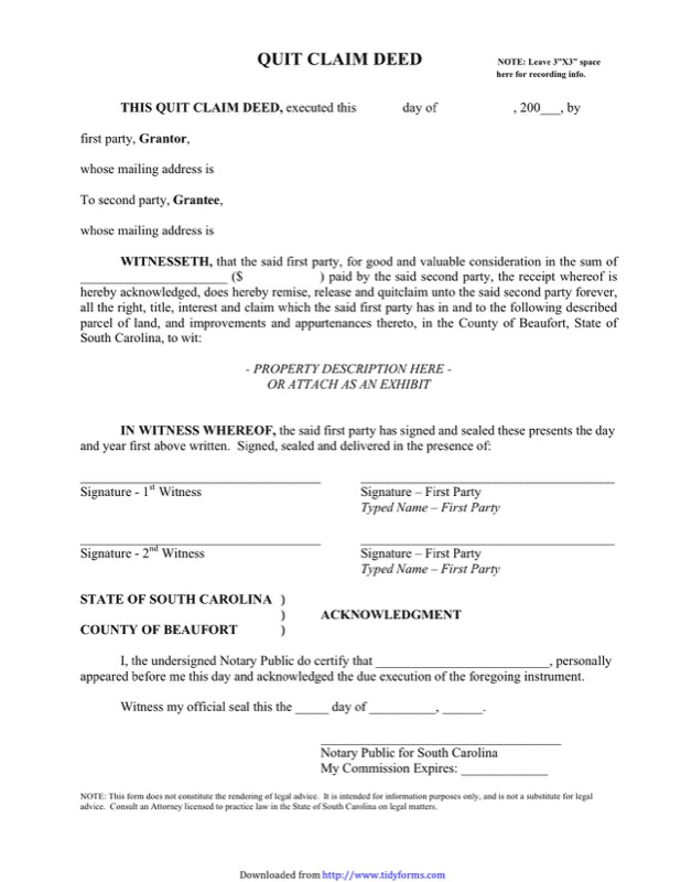 South Carolina Quitclaim Deed Form  Free Templates In Doc Ppt Pdf
