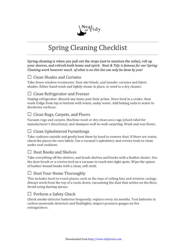 Spring Cleaning Checklist Templates  Free Templates In Doc Ppt
