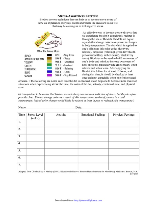 Stress Management Chart Templates  Free Templates In Doc Ppt Pdf