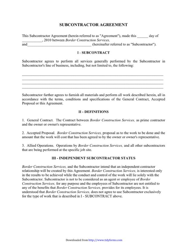 Subcontractor Agreement Templates  Free Templates In Doc Ppt Pdf