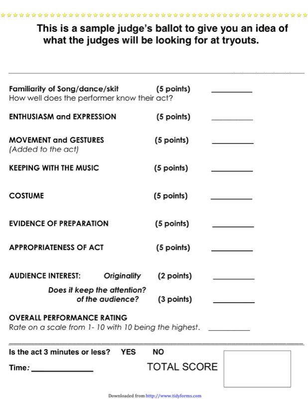 Talent Show Score Sheet Templates  Free Templates In Doc Ppt Pdf