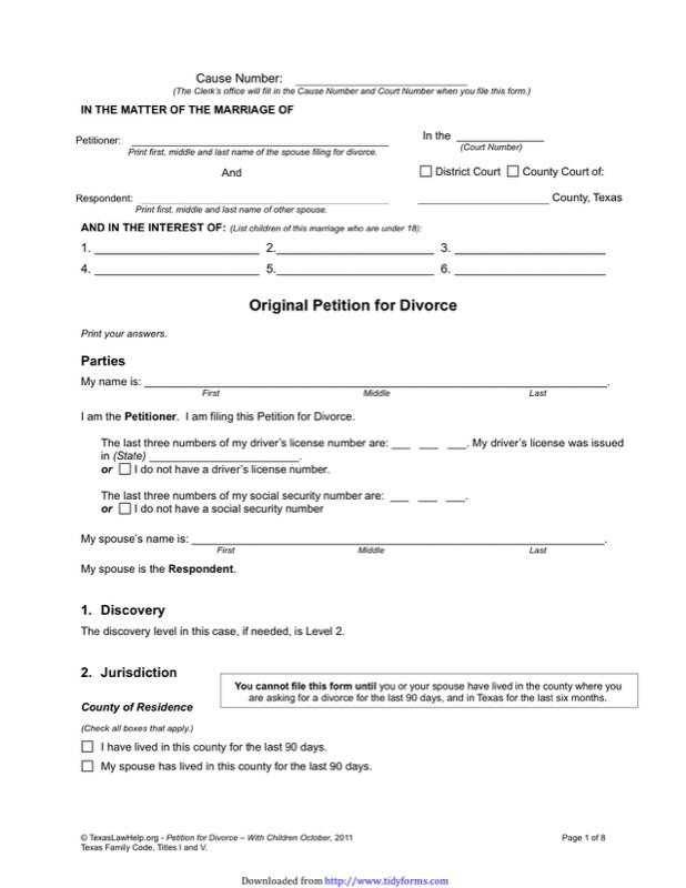 Texas Divorce Papers  Free Templates In Doc Ppt Pdf  Xls