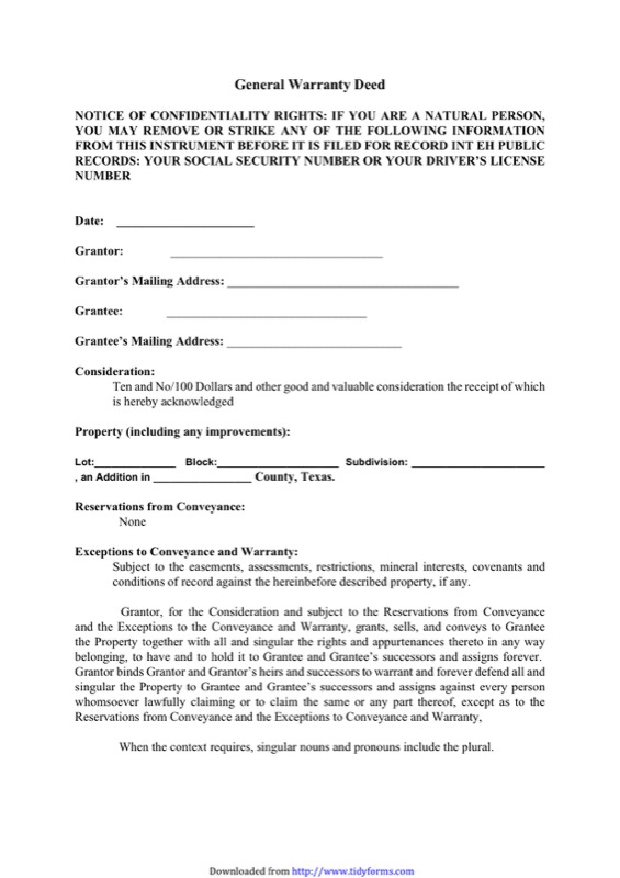 Texas Warranty Deed Form  Free Templates In Doc Ppt Pdf  Xls