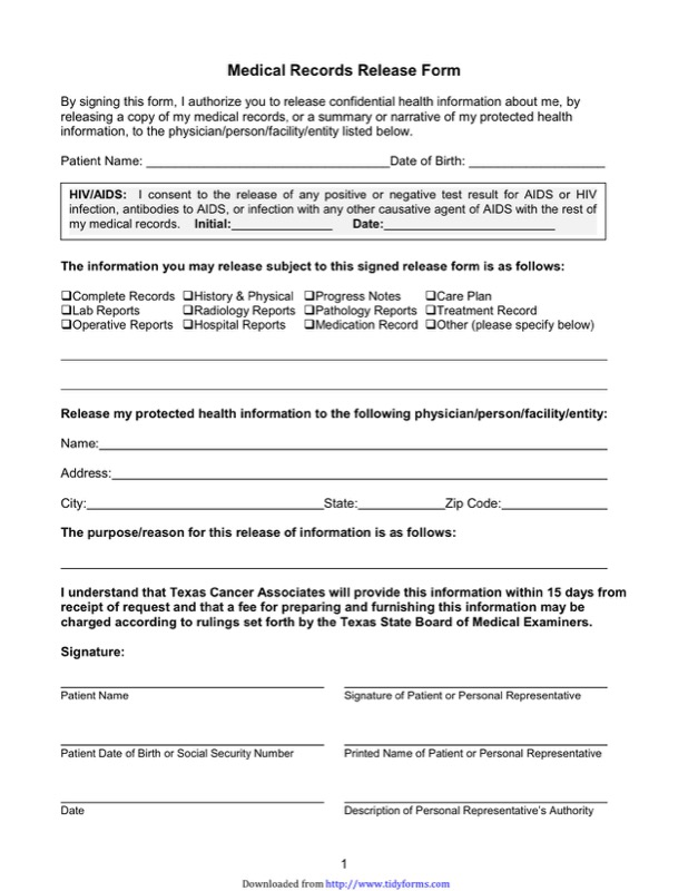 Texas Medical Records Release Form  Free Templates In Doc Ppt Pdf