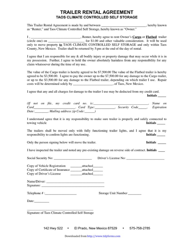 Trailer Rental Agreement Template  Free Templates In Doc Ppt Pdf