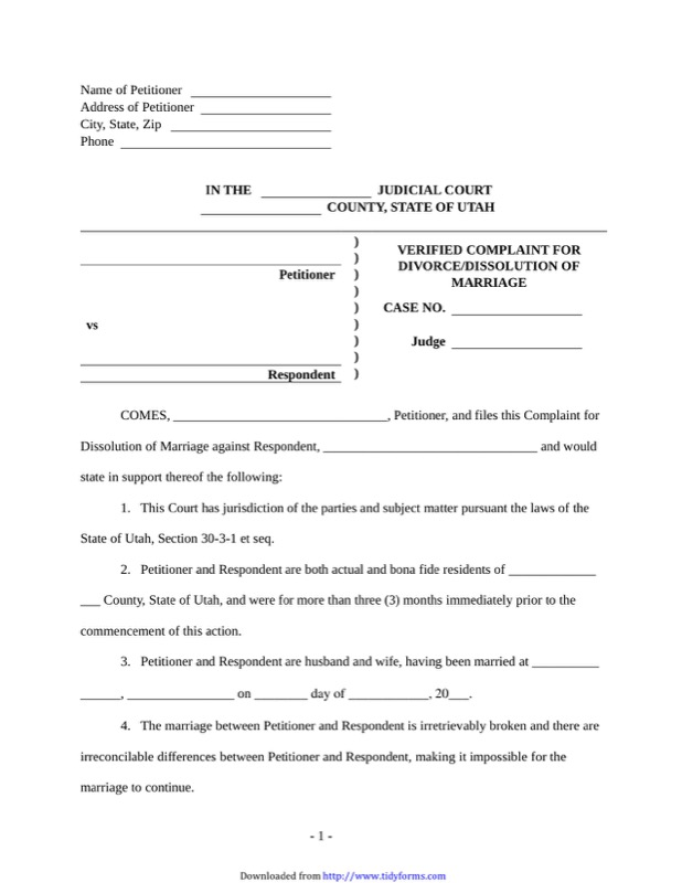 Utah Divorce Papers  Free Templates In Doc Ppt Pdf  Xls