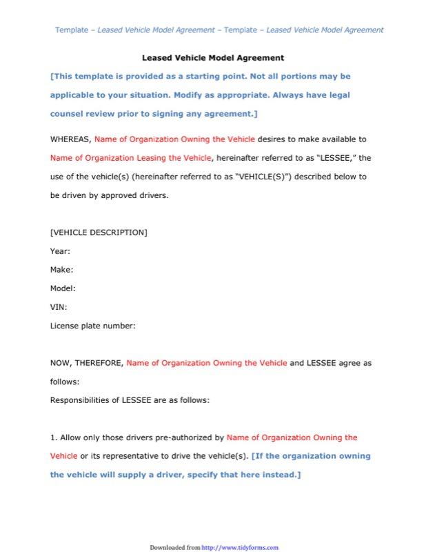 Vehicle Lease Agreement Templates  Free Templates In Doc Ppt Pdf