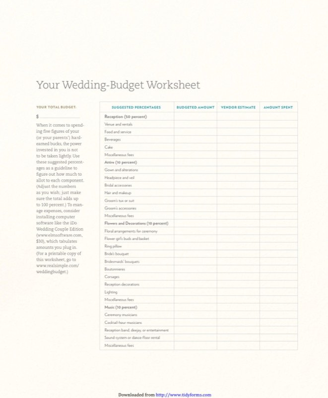 Wedding-budget Worksheet