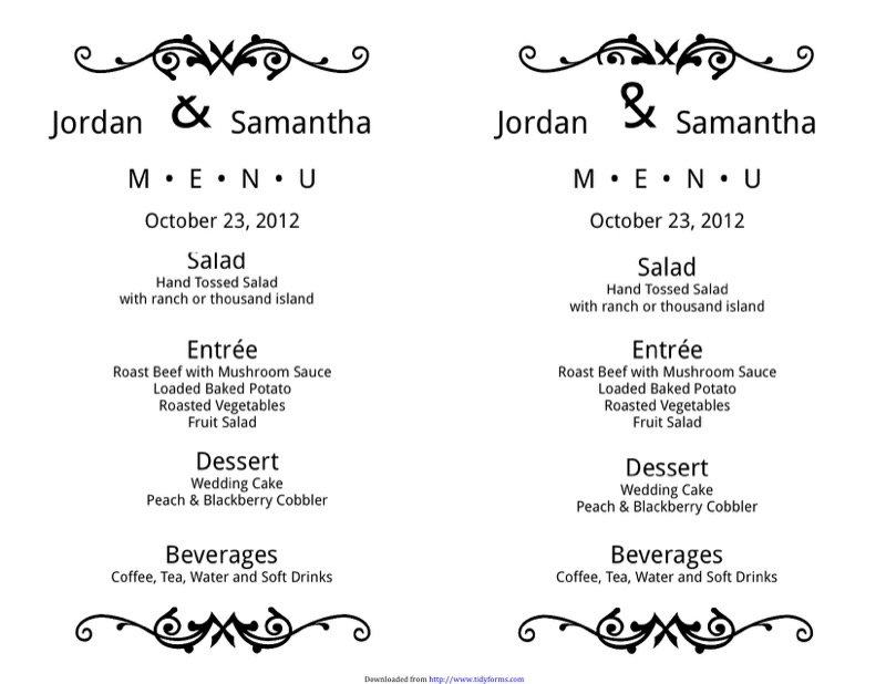 wedding menu template 1