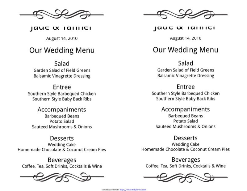 Wedding Menu Template  Free Templates In Doc Ppt Pdf  Xls