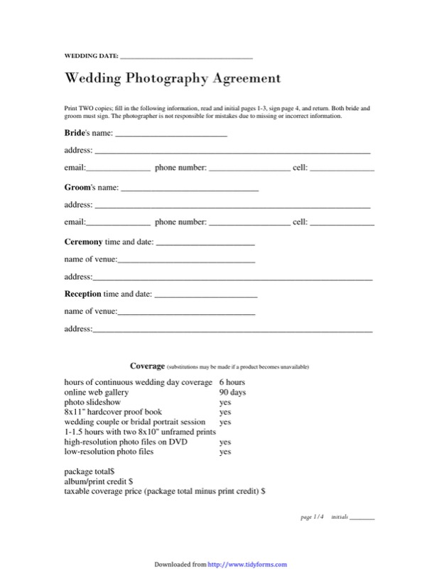 Photography Contract Template  Free Templates In Doc Ppt Pdf  Xls