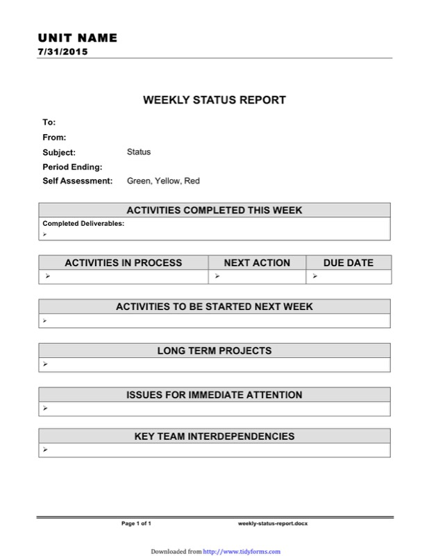 Weekly Progress Report Template  Free Templates In Doc Ppt Pdf  Xls