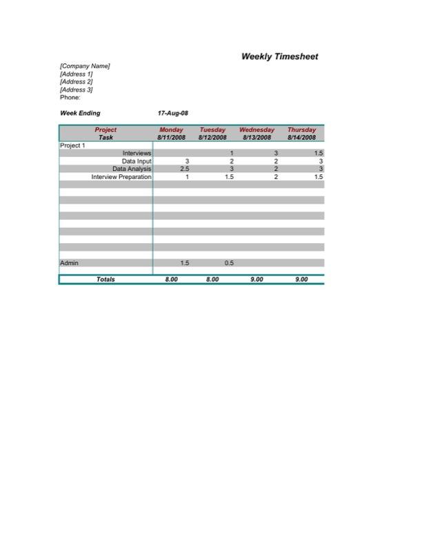 timekeeping template