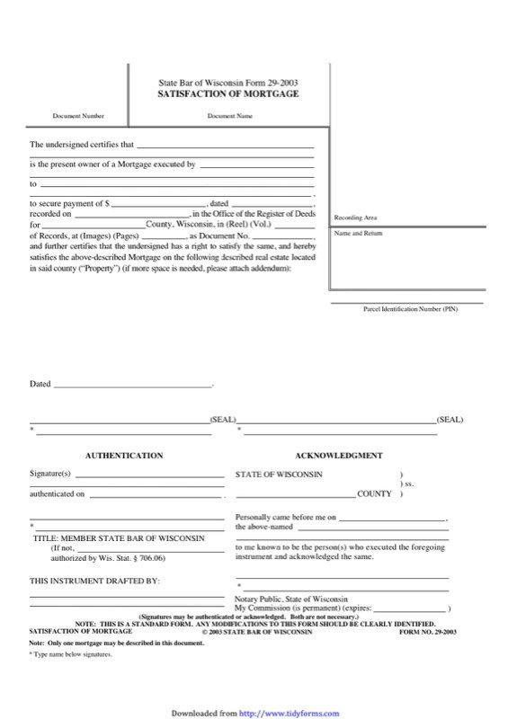 Wisconsin Satisfaction Of Mortgage Form  Free Templates In Doc Ppt