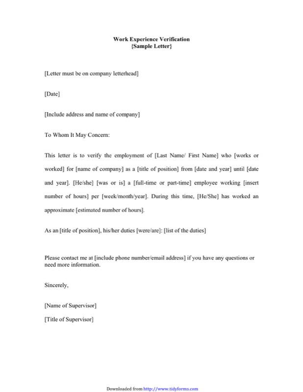 Employment Verification Letter Template  Free Templates In Doc Ppt