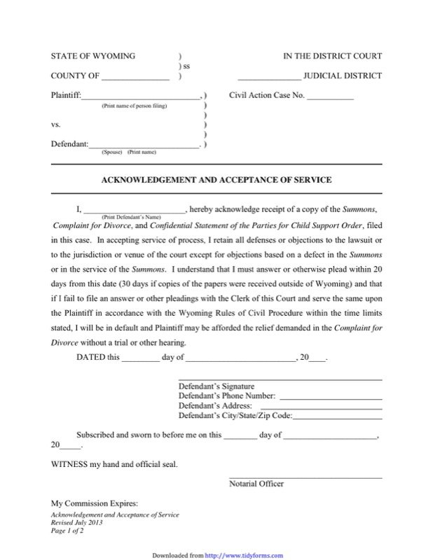 Wyoming Divorce Papers  Free Templates In Doc Ppt Pdf  Xls
