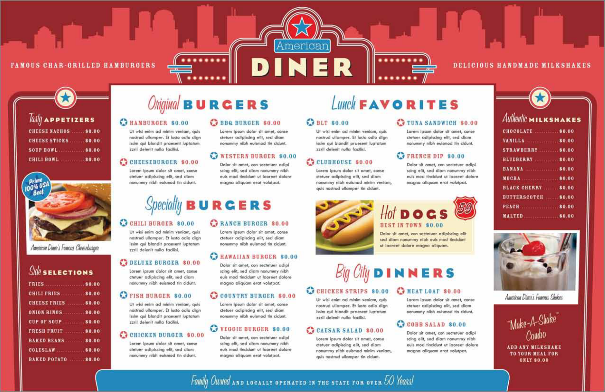 The American Diner Restaurant Menu Template Can Help You