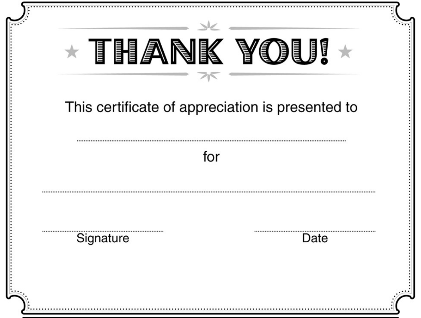 Thank You Certificates Templates  Certificates Of Appreciation Templates For Word