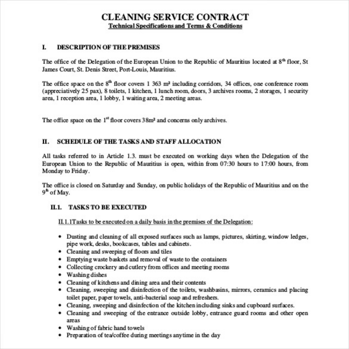 The Cleaning Service Contract Template Free Pdf Format can help – Contract of Service Format