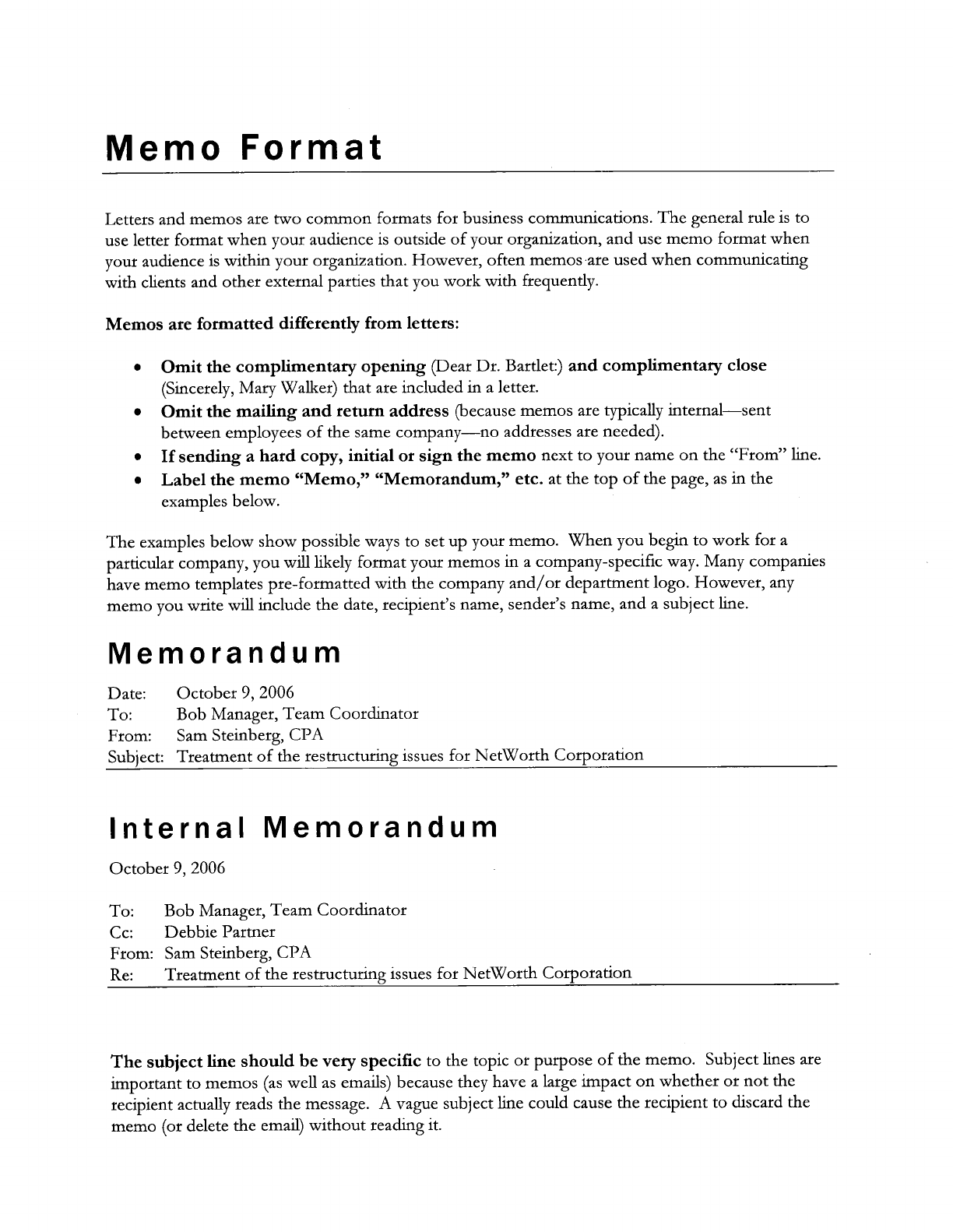 internal memorandums