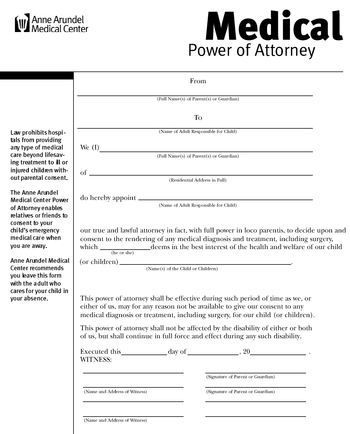 Download maryland medical power of attorney form for free tidyform maryland medical power of attorney form falaconquin