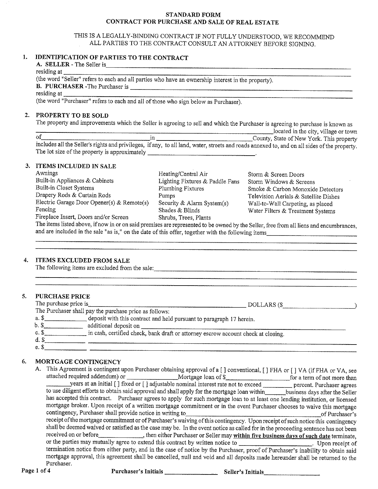 Download New York Offer To Purchase Real Estate Form for Free ...